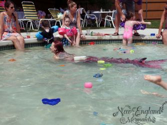Mermaid Swimming in a Kiddie Pool Public Pool